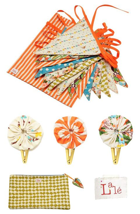 Sweet banner, pinwheels hairclips, and small handbag. No tutorial, but easy enough to make.