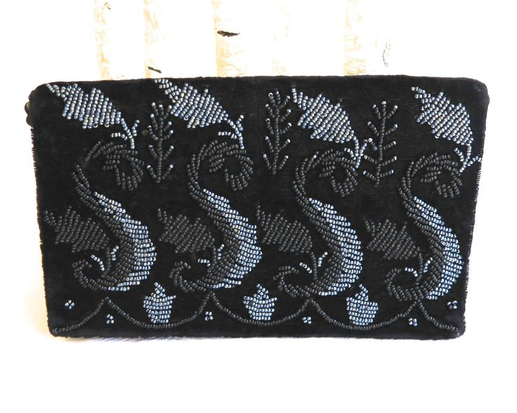 Vintage black velvet bag with black & iridescent blue seed beads on fold over flap, long black cord handle, can be worn various ways, 1980s by CardCurios on Etsy