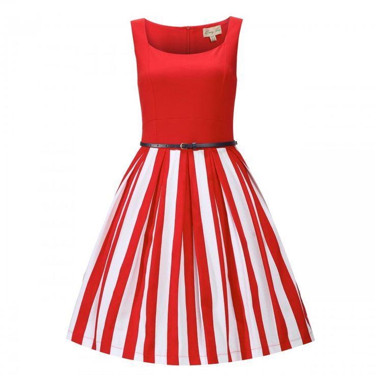 Retro šaty Lindy Bop Bette Red Stripe Šaty ve stylu 50. let. Nádherné a nepřehlédnutelné šaty vhodné na krásné jarní či letní dny, zahradní slavnosti, výlety parníkem či dovolenou. Živůtek z příjemnéo pružného materiálu (60% viskóza, 35% polyester, 5% elastan), pěkně řešený dekolt, sukně se širšími pruhy a pravidelnými sklady od pasu dolů nepřidává objem (97% bavlna, 3% elastan, podšívka 97% polyester, 3% elastan). Zapínání na zip v zadní části, součástí úzký tmavě modrý pásek. Pro bohatší…