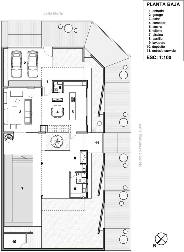 Plano de vivienda unifamiliar en esquina de 220 m2 en un for Planos gratis