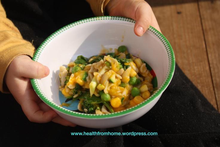 creamy pumpkin vegetable pasta (gluten-free, dairy-free, fructose friendly)