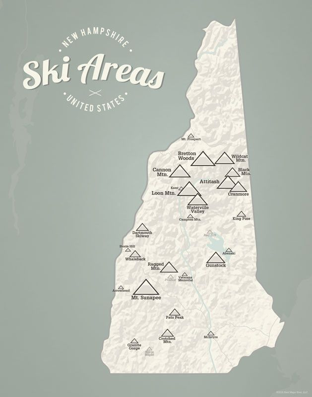 New Hampshire Ski Resorts Map 11x14 Print from Best Maps Ever