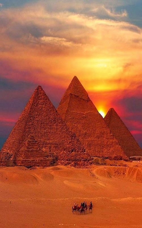 Egyptian Pyramids at Sunset in the Desert