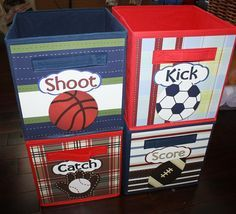 4 Patterned Sports Basketball Soccer Football by ToadAndLily, $68.00