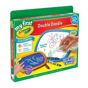 • Reusable<br>• Includes Drawing Pad and Crayons<br>• 11 Inches Wide<br><br>My First Crayola Double Doodle Board is a fun drawing pad for the child in your life. Take this doodle board in the car for trips. Includes a white board side for crayons and a gel side.
