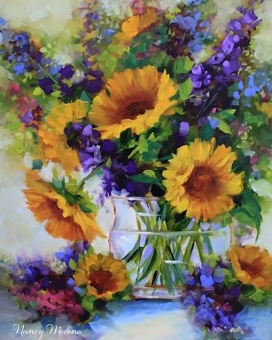 ANNUAL SALE! Flight of Fancy Sunflowers and a Poppy Painting Giveaway by Texas Artist Nancy Medina, painting by artist Nancy Medina