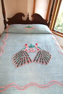 Vintage Double Peacock Peacocks Chenille Bedspread