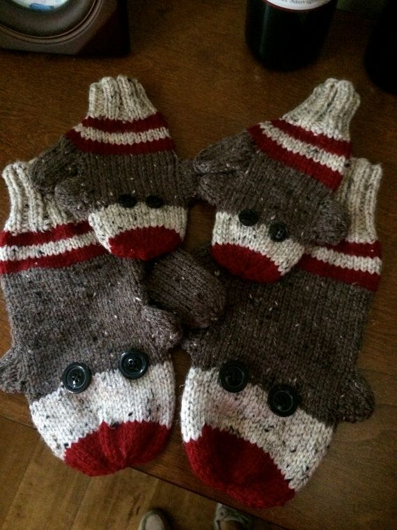 Sock Monkey Adult and child matching mittens by KettleCoveknits