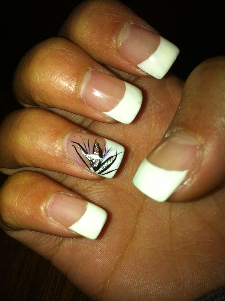 French Tip Nails Thinking This Design But With Teal And Silver