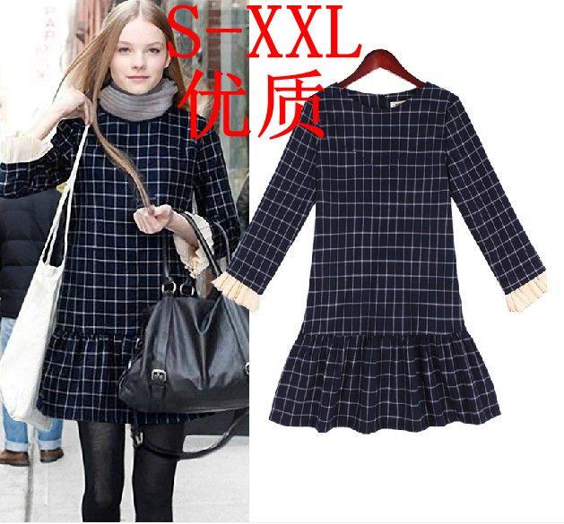 S-XXL Free Shipping autumn pullover o-neck autumn plaid one-piece dress elegant short dress#BD566 $15.99