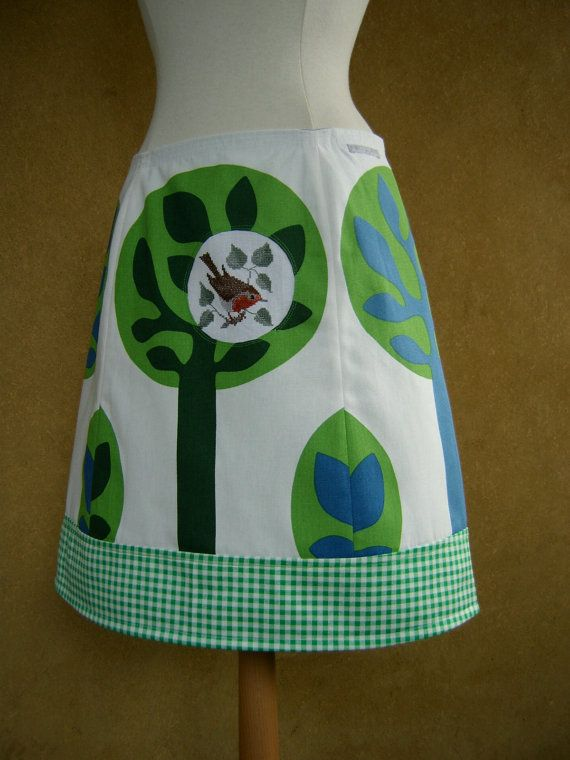 Trees with a Little Bird embroidery, Ikea coupon fabric, plaid, A-line skirt,  fully lined, white greens blues, size Medium and Large