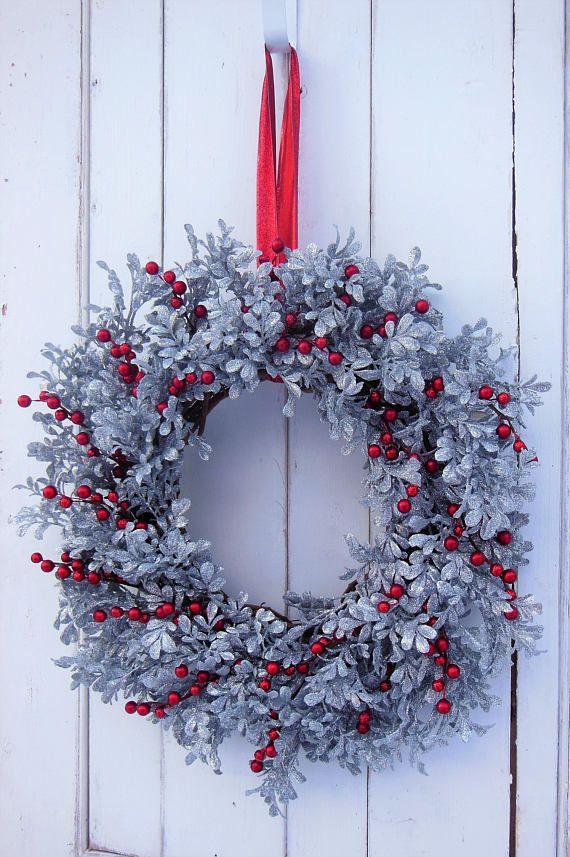 Christmas Wreath Christmas Door Wreath Silver Wreath Berry Wreaths Red Berry Wreath Christmas Decor Elegant Wreath Holiday Wreath Christmas Wreaths Red Berry Wreath Holiday Wreaths