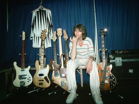 Chris Squire c.1980 around the time of 'Drama'.  Seems even chris had a Gibson triumph bass in his arsenal of bass guitars.