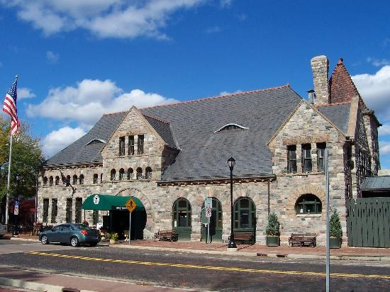 """Ann Arbor, MI - Gandy Dancer. """" Known in railroading days as """"the finest station between Buffalo and Chicago"""", the majestic Michigan Central Railroad Depot deserves that commendation more than ever as the Gandy Dancer. """" (Restaurant)"""