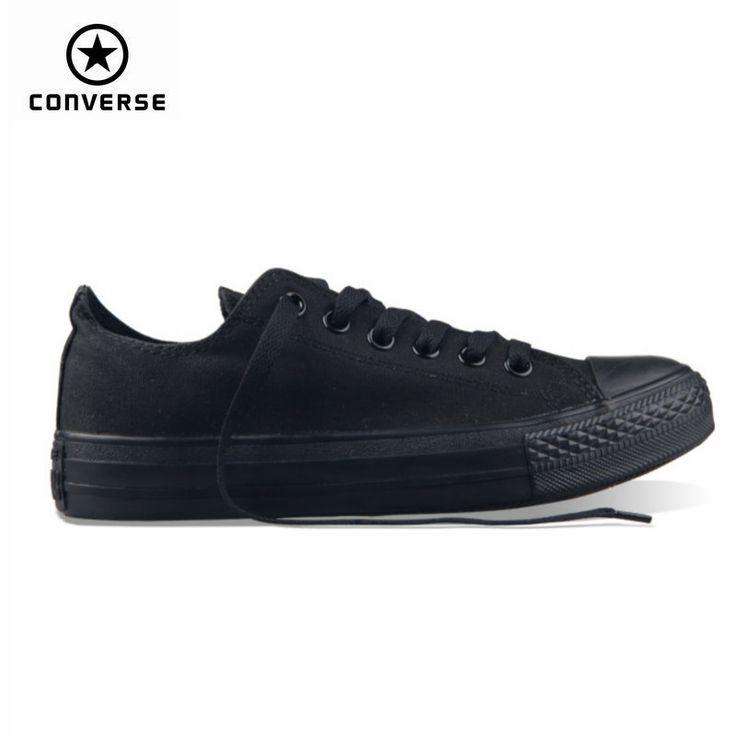 Klasik Asli Converse all star pria dan wanita sneakers sepatu kanvas semua hitam dan beige rendah Skateboard Sepatu