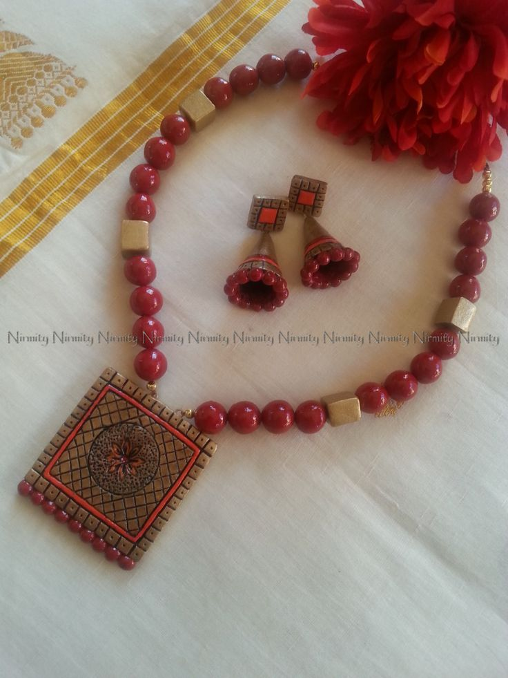 Red and orange terracotta jewelry - Terracotta necklace set -Terracotta jewellery-color options available by NIRMITY on Etsy