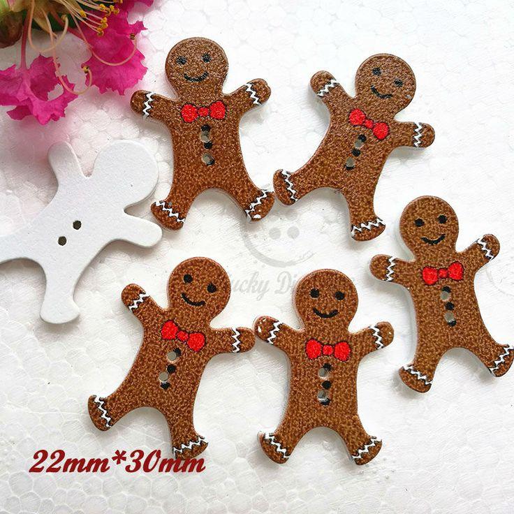 Gingerbread Man wood buttons Christmas decorative buttons scrapbook craft diy materials
