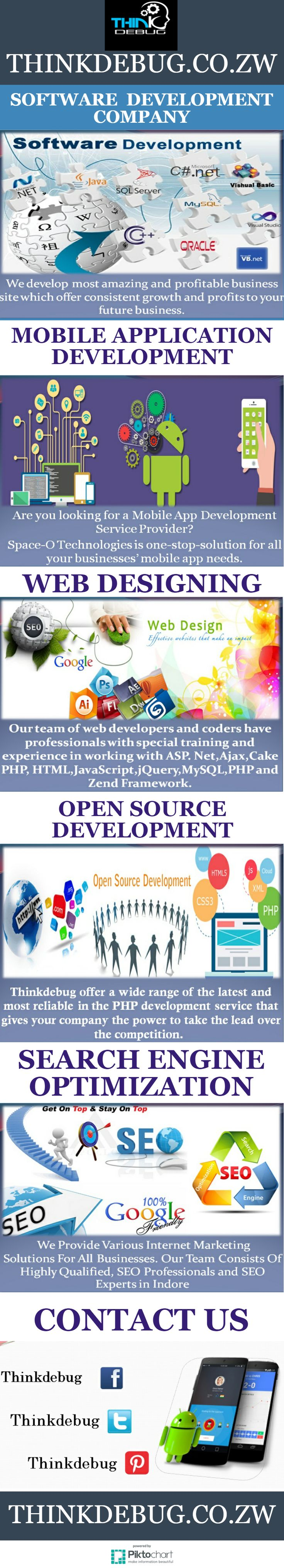 Thinkdebug, a pioneered web development company Zimbabwe offers end-to-end web development services as we strive to provide excellent service at every phase. Our web developers and coders work strictly in accordance to the enterprise level coding standards to ensure that you get the best. Our team of web developers and coders have professionals with special training and experience in working with ASP. Net, Ajax, Cake PHP, HTML, JavaScript, jQuery, MySQL, PHP and Zend Framework.  For More…