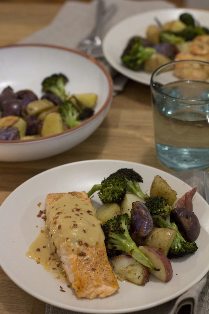 Roasted Salmon, Broccoli, and Potatoes With Miso Sauce. I am so happy how this turned out. It was very easy to make and perfect for Sunday night dinner with my boyfriend. I dont know why I never thought about doing this before but... roasted broccoli is so good!, #monthofdinners