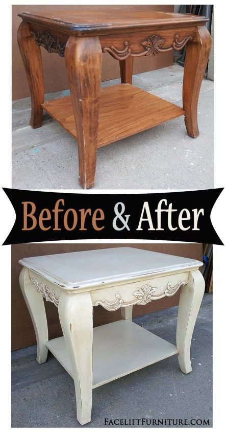 Chunky end table in distressed Off White and Tobacco Glaze - Before and After from Facelift Furniture #shabbychicfurniturebeforeandafter