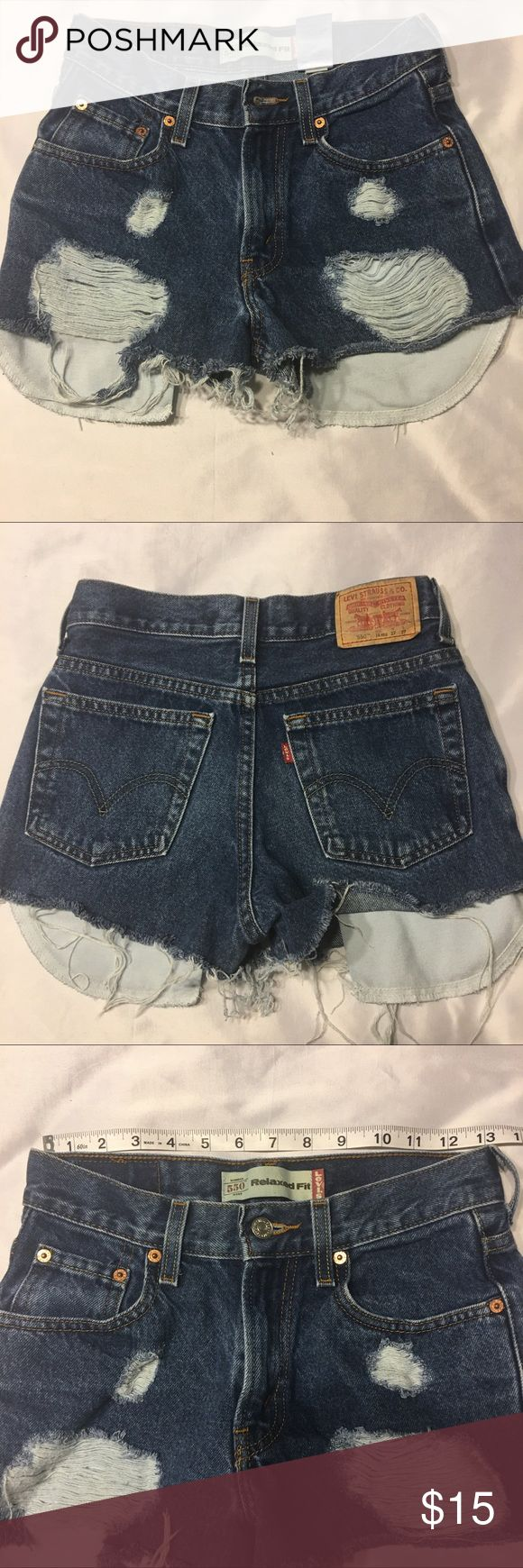 Custom cutoff and distressed Levi's 550's Custom cutoff Levi's 550. These cuttoffs are amazing and ready for a summer full of festivals and concerts. Levi's Shorts Jean Shorts