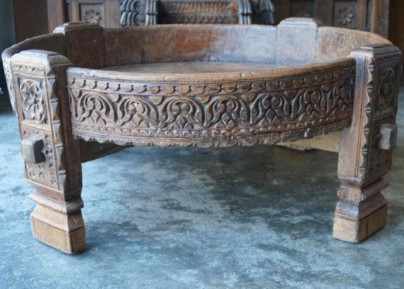 Chakki / Teak Grain Table / Low Table / Moroccan Table / India Style /  Shipping Included In The U.