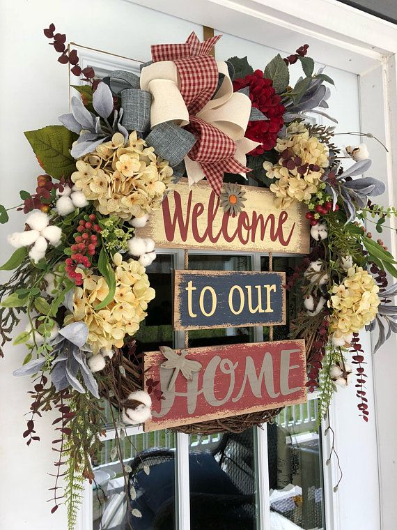 Summer Wreath For Front Door Welcome To Our Home