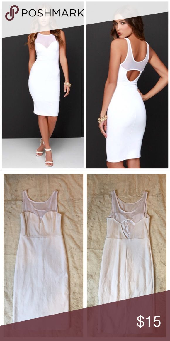 PRICE ✂️ Lulu's forever sweethearts bodycon dress ❤️❤️ PRICE REDUCED! ❤️❤️ Lulu's forever sweethearts ivory bodycon dress. Sexy white bodycon dress with white mesh detail, fully lined. Size 6. No longer in stock on Lulu's website.   Pet & Smoke free home. Lulu's Dresses Midi