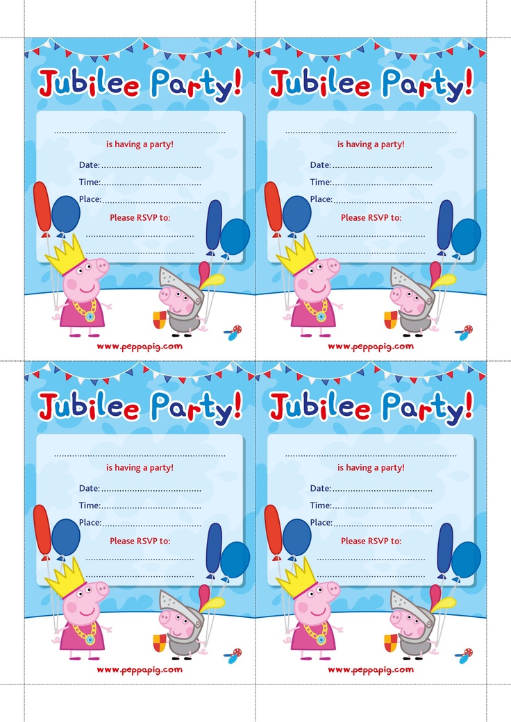 Peppa Pig Jubilee Party Invite