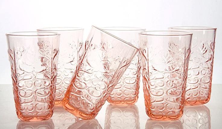 Pembe Cam 6'lı Meşrubat Bardağı