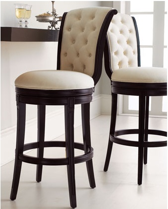 """""""Monohan"""" Tufted Barstool & Counter Stool  Especially elegant seating for the bar—birch frame in a rich, dark finish is covered in ivory twill with a tufted back that curves ever so slightly. Barstool, 19.5""""W x 24.5""""D x 46.5""""T. Counter stool, 19.5""""W x 24.5""""D x 40.5""""T - $699 at Horchow"""