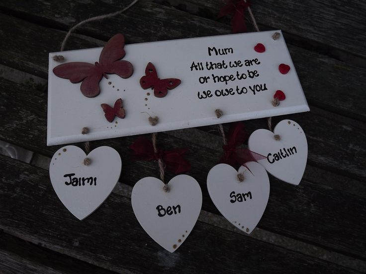 MUM... ALL THAT we are, or hope to be, we owe to you..... Hand-painted wooden plaque. Personalised with up to five children's names by KatijanesCreations on Etsy