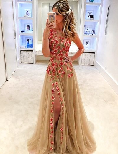 Champagne Prom Evening Dress, Jewel Sleeveless, Appliques Sweep Train Split Prom Dress,144