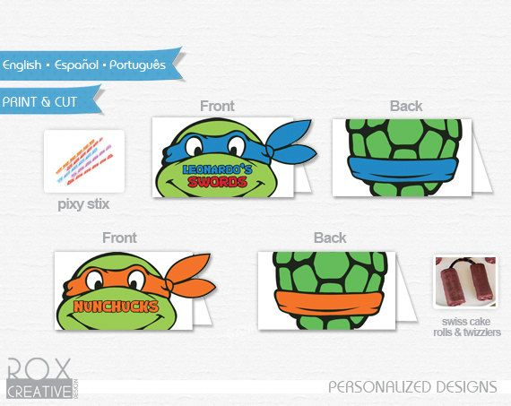 Ninja Turtles Food Tents TMNT food labels by RoxCreativeDesign
