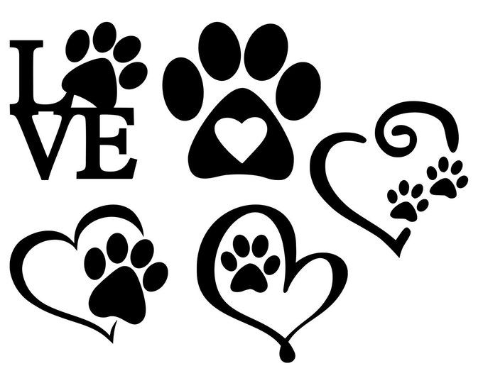 CUTE with Paw Print Stencil for Sign I Love My Dog s