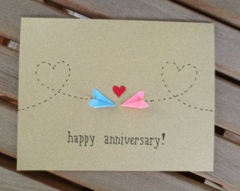 anniversary card, long distance anniversary card, happy anniversary card, paper airplane anniversary card, first anniversary card
