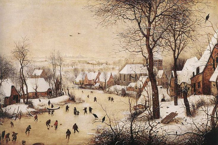 Winter Landscape with Skaters and a Bird Trap Artist: Pieter Bruegel the Elder Completion Date: 1565 Style: Northern Renaissance Genre: landscape Technique: oil Material: panel Dimensions: 37 x 55 cm Gallery: Private Collection