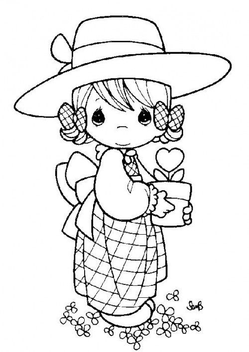 Gardener - Precious Moments coloring pages.
