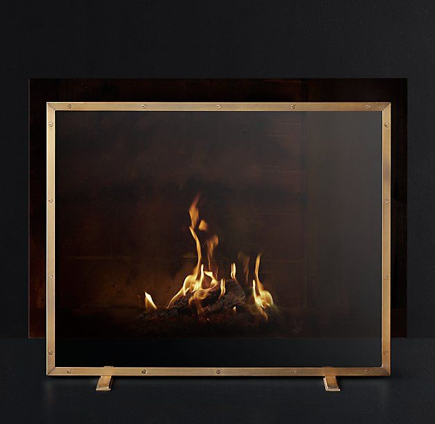 RH Modern Courchevel Glass Panel Fireplace Screen