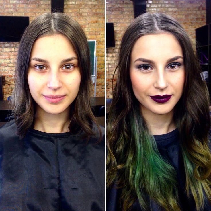 До и после) вечерний макияж, макияж глаз, бордо