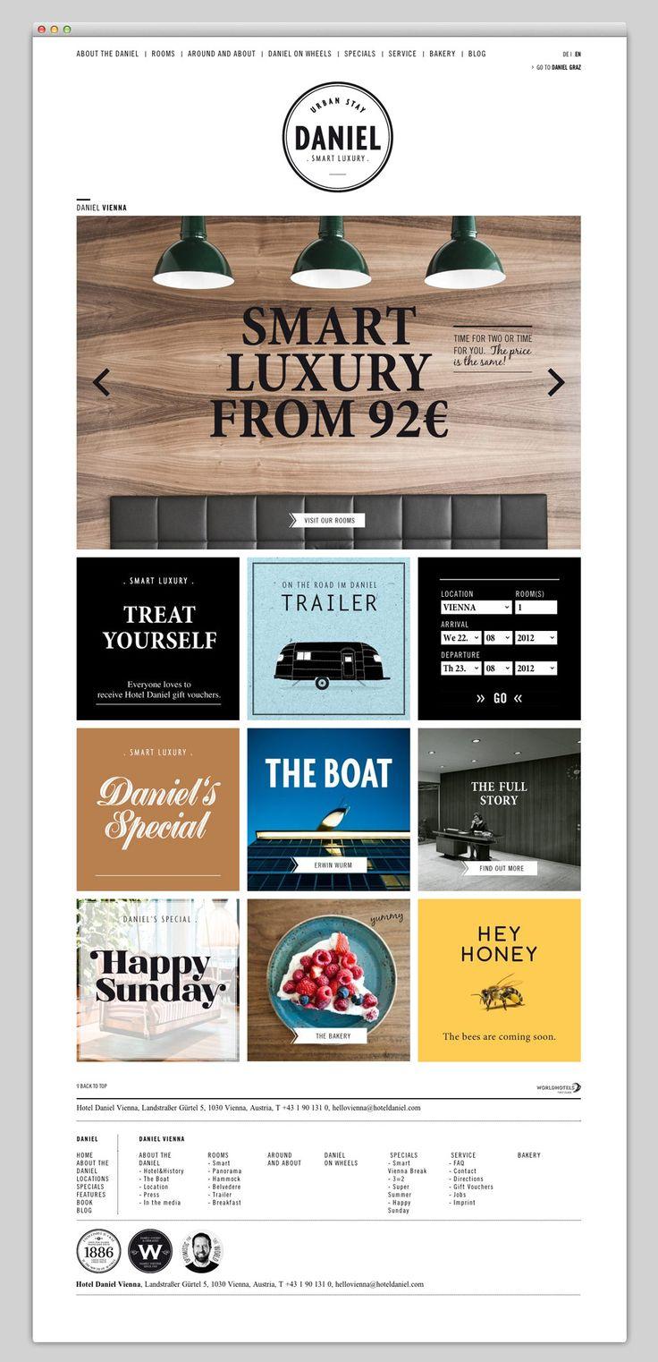 Websites We Love.  Logo en opbouw van de lay-out. Verdeeld in vlakken en met tekst blokken ertussen.