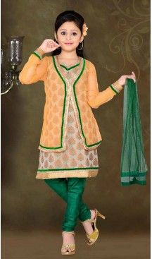 Girl's Green Art Silk in Embroidered Incredible Readymade Salwar Kameez