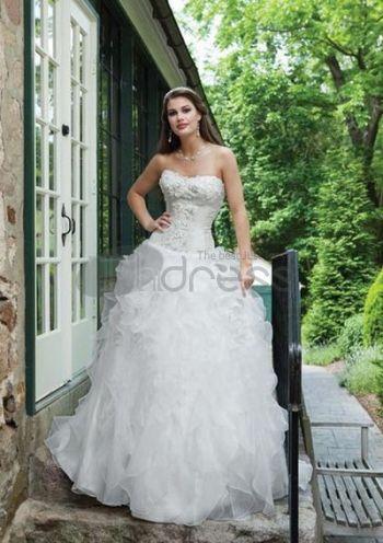 Abiti da Sposa Senza Spalline-Sweetheart sweep treno raso organza abiti da sposa senza spalline