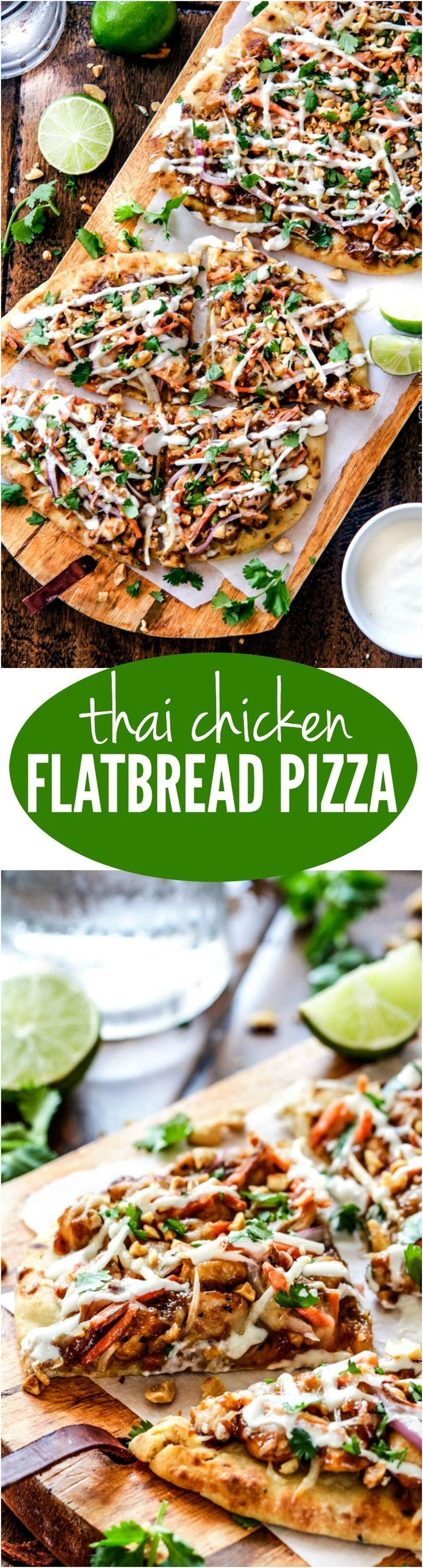 Thai Chicken Flatbread Pizza smothered in easy tangy peanut sauce, tender chicken, carrots, sprouts, mozzarella cheese and the option of Coconut Crema drizzle - an amazing flavor bursting quick dinner the whole family will love!