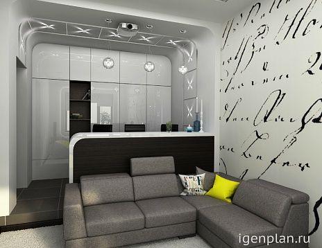 Комната отдыха, которая совмещает в себе домашний кинотеатр и мини-бар для гостей. Автор: Мария Трифонова. #дизайнинтерьера #igenplan #гостиные #дизайнгостиной  #интерьергостиной