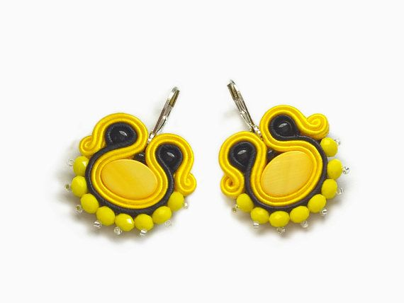 Lemon Black Earring Yellow Amarillo Soutache by RenaSoutacheArt