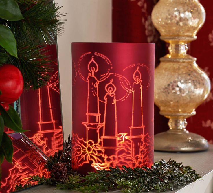 H208697 This glass cylinder has a lovely etched holiday design illuminates with a soft glow. http://qvc.co/-Shop-ValerieParrHill