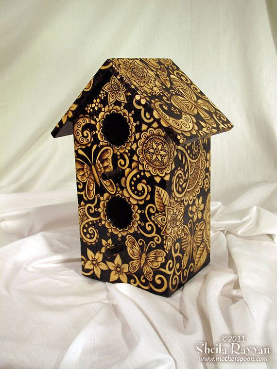 Birdhouse - woodburn design (butterflies) pyrography
