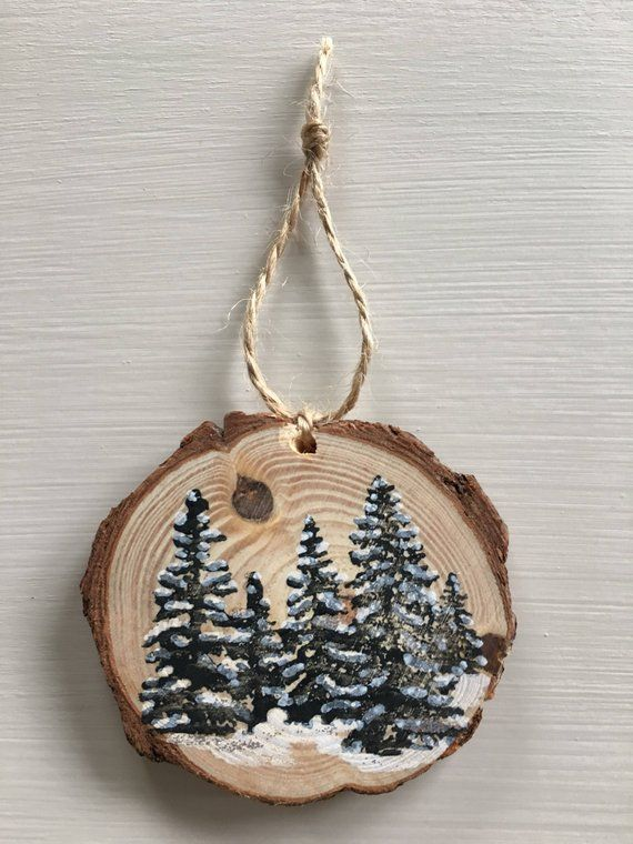 Snowy Forest Wood Slice Ornament Wood Christmas Ornaments Painted Christmas Ornaments Christmas Decorations Rustic