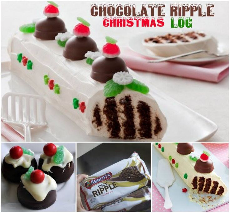 Chocolate Ripple Christmas Log... Could also add a little liqueur for an adults only treat!